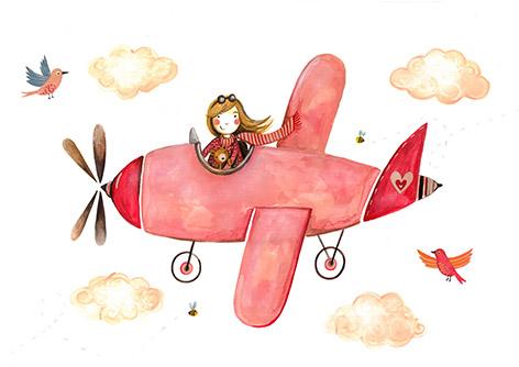 Różowy Samolot Plakat 30x40